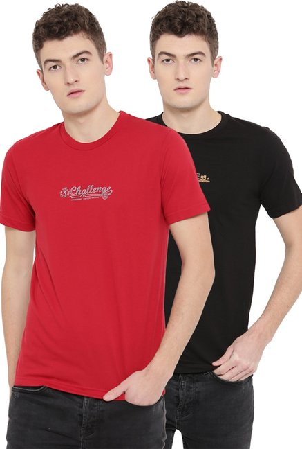 Neva Red & Black Cotton T-Shirt (Pack Of 2)