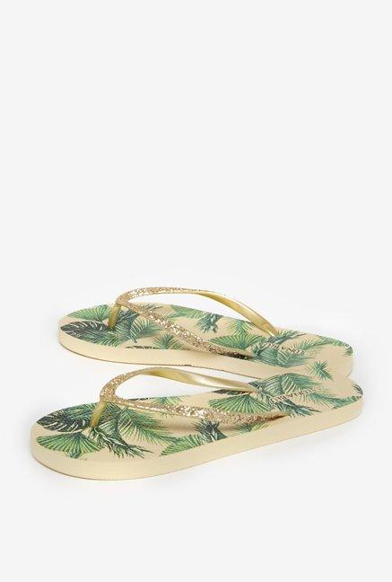8d86c1ae3d65b Buy LUNA BLU by Westside Gold Leafy Flip-Flops For Women Online At ...