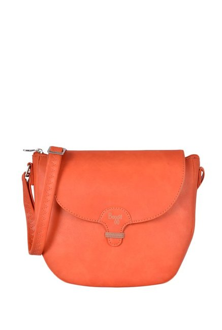 Baggit Lizzie Orange Solid Flap Sling Bag
