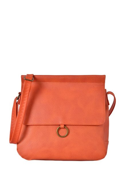 Baggit Freezy Orange Solid Flap Sling Bag