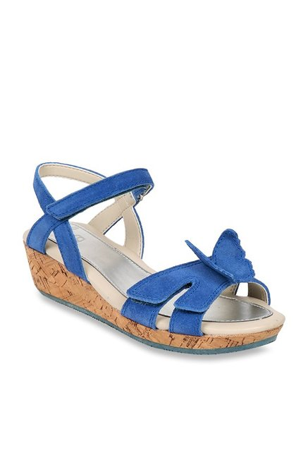 53fe14105cd Buy Kids Harpy Wings Blue Ankle Strap Wedges for Girls at Best Price   Tata  CLiQ