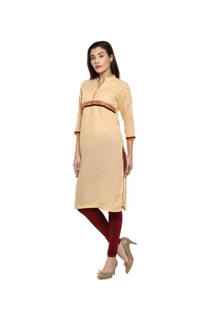 Soch Beige Regular Fit Cotton Kurta