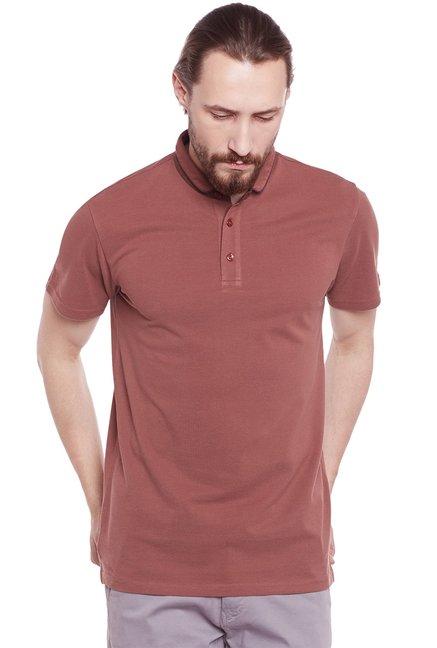 984b2d15 Buy Postfold Brown Short Sleeves Polo T-Shirt for Men Online @ Tata CLiQ