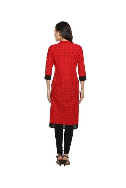 Soch Red Printed Cotton Kurta