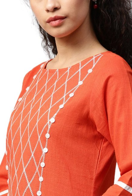 Jaipur Kurti Rust Embroidered Cotton Kurta