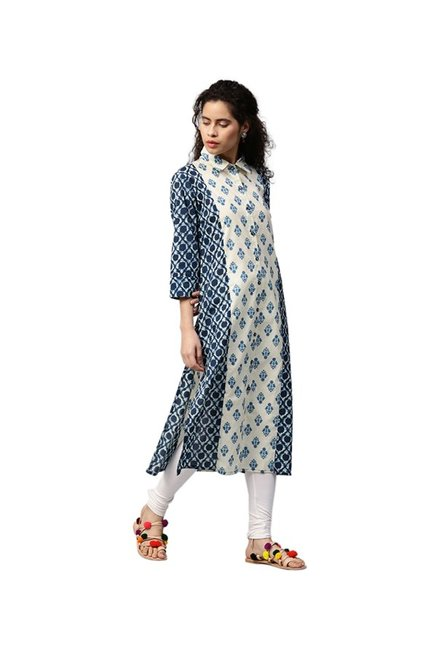 Jaipur Kurti Navy & Off White Printed Cotton Kurta