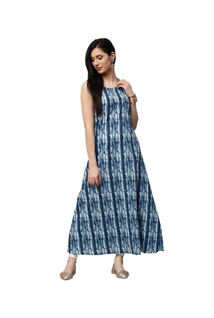 Jaipur Kurti Off White & Navy Printed Kurta With Shrug