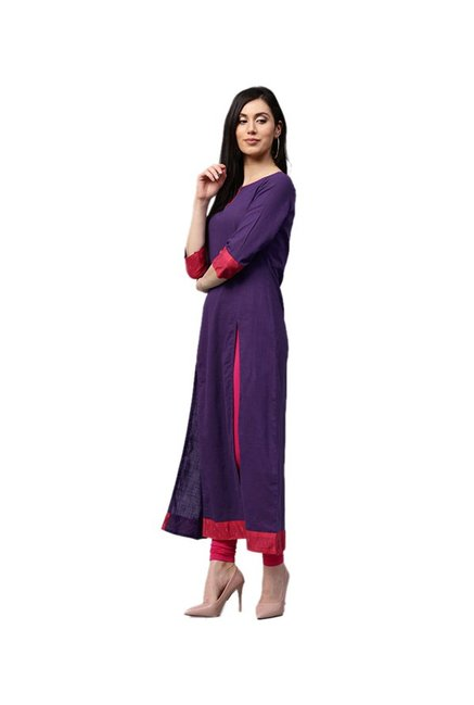Jaipur Kurti Purple Cotton Dress