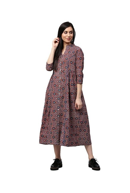 Jaipur Kurti Maroon Printed Cotton Dress