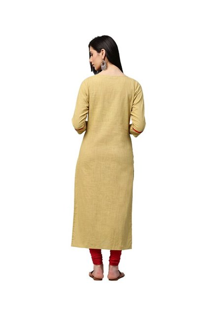 Jaipur Kurti Beige Embroidered Cotton Kurta