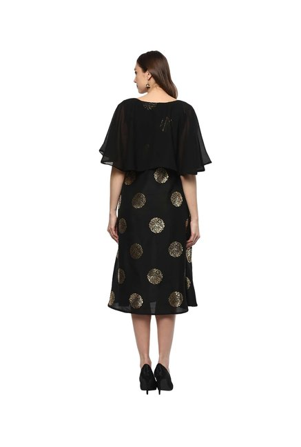 Ziyaa Black Printed Polysilk Kurta