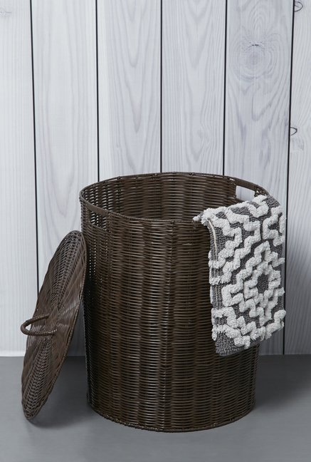 Buy Westside Home Brown Cylindrical Laundry Caddy With A Lid Online At Best Price Tata Cliq