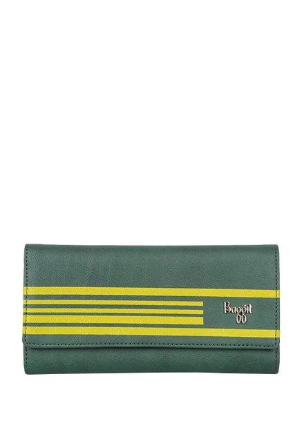 Baggit Frank Green & Yellow Striped Tri-Fold Wallet