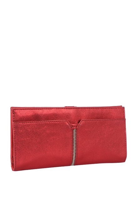 Baggit Mithiya Metallic Red Panelled Bi-Fold Wallet