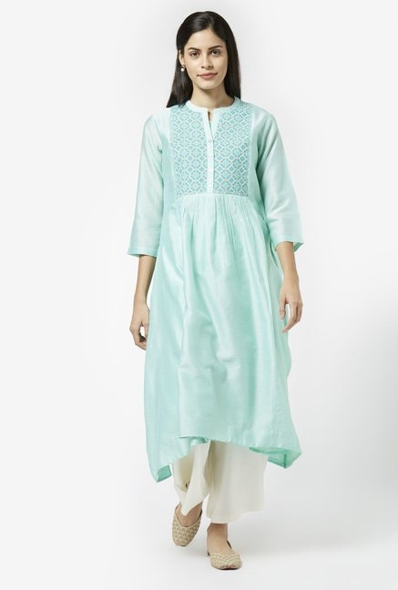Zuba by Westside Mint Green Melange Kurta with Chemise