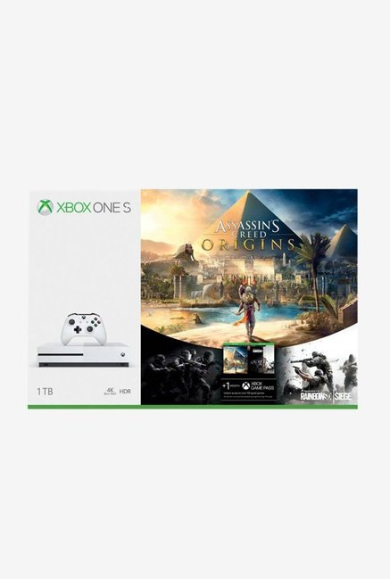 Microsoft Xbox One S 1 TB Console with Assassin's Creed Origins (White)
