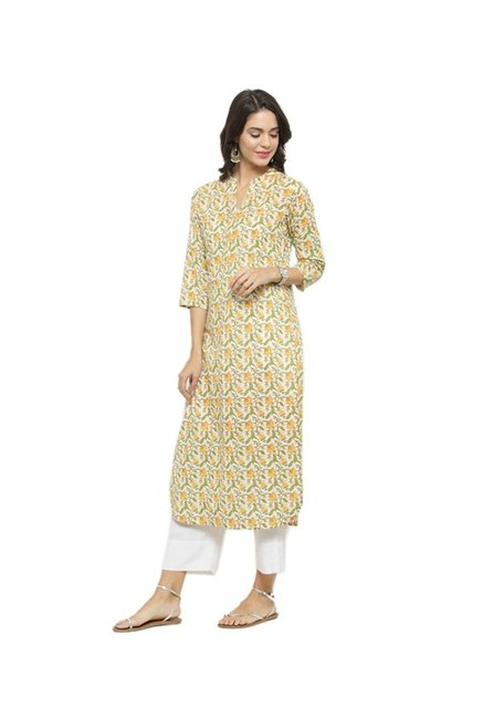 Varanga Yellow Floral Print Cotton Kurta