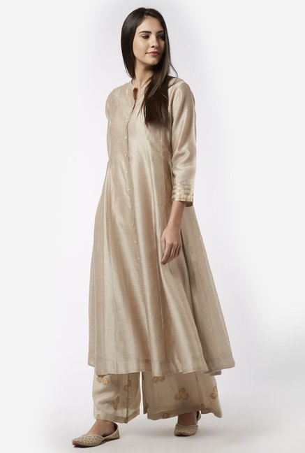 Zuba by Westside Beige Kurta with Chemise