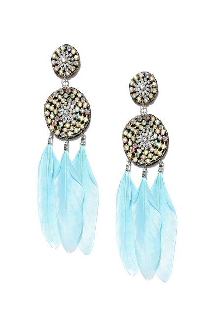 Buy Tarbiya Kraft Blue Dream Catcher Earrings for Women At