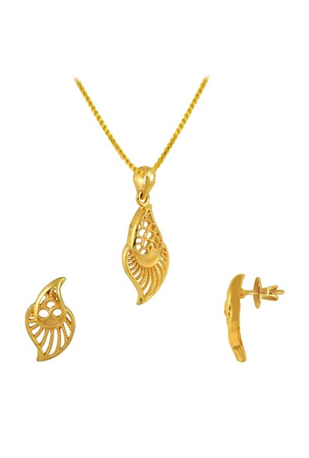 158c9cb203bf1 Buy P.N.Gadgil Jewellers Two Leaves 22K Gold Necklace & Earring Set ...