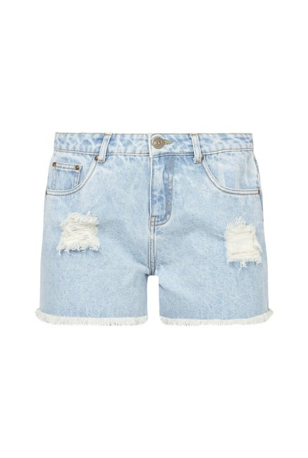 Nuon by Westside Blue Pure Cotton Denim Shorts