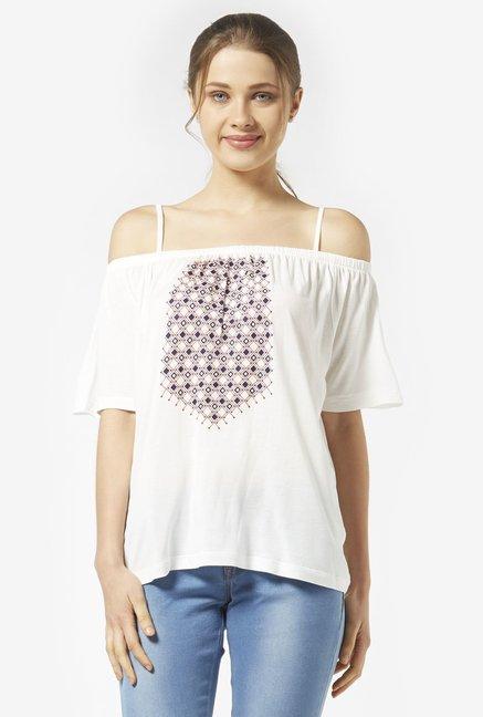 5f321fb35b826f Buy Zudio White Cold-shoulder Top for Women Online   Tata CLiQ