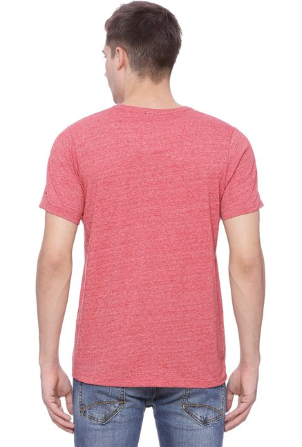 Basics Red V-Neck Half Sleeves T-Shirt