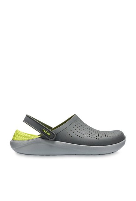 b45f3d655 Buy Crocs LiteRide Slate Grey   Lime Green Back Strap Clogs for Men ...