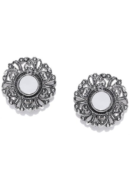 Infuzze Silver Alloy Oversized Stud Earrings For Women At Best Price Tata Cliq