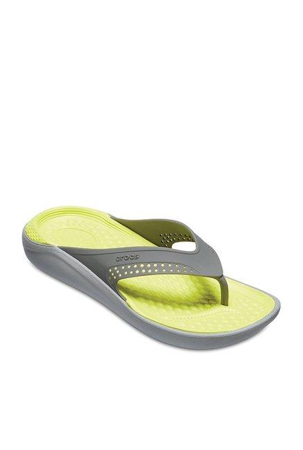 3d2958f73 Buy Crocs LiteRide Slate Grey   Tennis Ball Green Flip Flops for Men ...