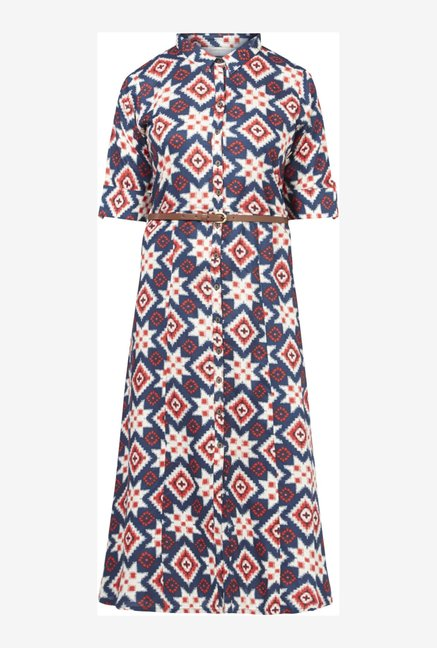 Bombay Paisley by Westside Dark Navy Dress with Belt