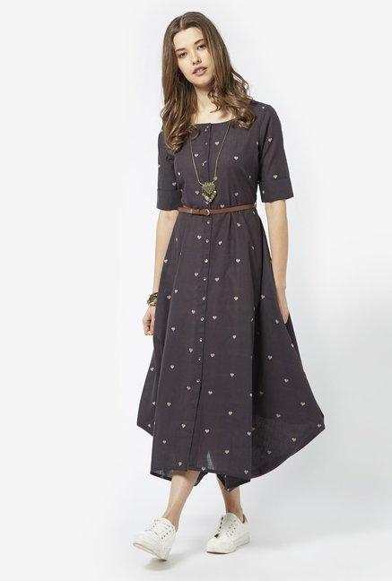 73983aa0aa434 Buy Bombay Paisley by Westside Dark Grey Dress with Belt for Women Online @  Tata CLiQ