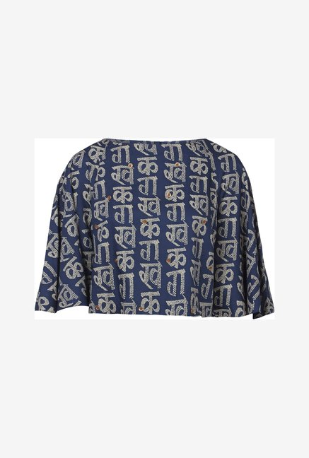 Bombay Paisley by Westside Dark Navy Cropped Top