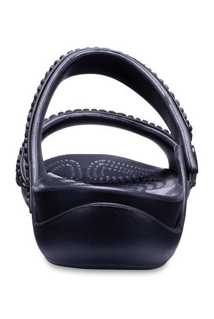 71160e62faf6cc Buy Crocs Cleo V Diamante Black Casual Sandals for Women at Best ...