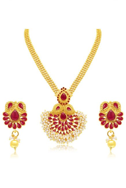ced97153f8279 Buy Sukkhi Red Alloy Divine Kairi Necklace Set for Women At Best Price @  Tata CLiQ