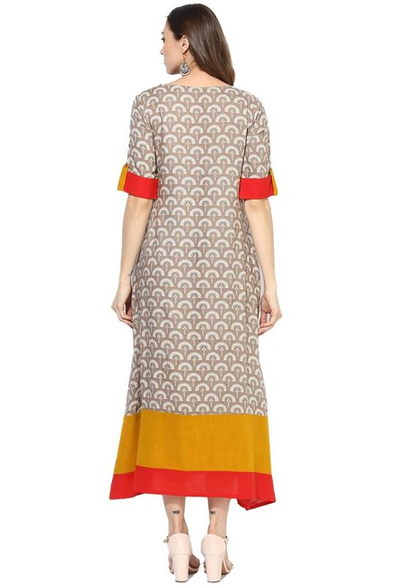 Varanga Taupe Printed Viscose Rayon Dress