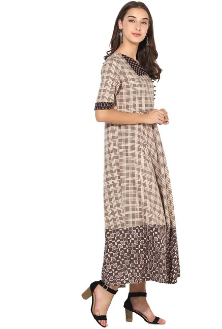 Varanga Taupe Checks Cotton Dress