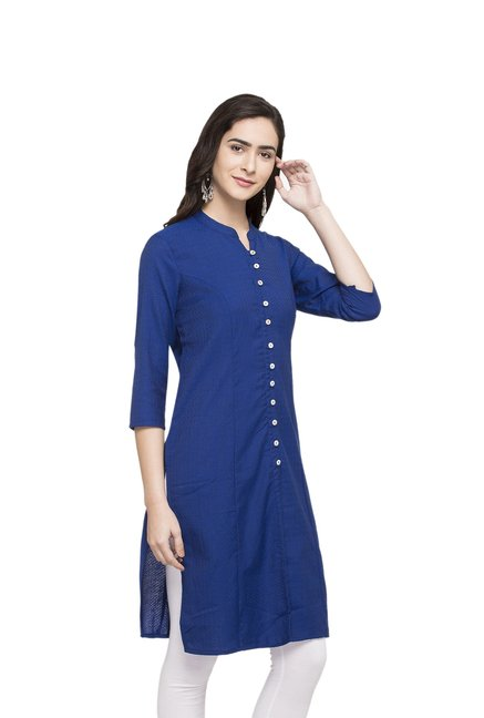 Globus Blue Textured Cotton Kurta