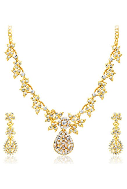 300491f98 Buy Sukkhi Golden & White Alloy AD Floral Necklace Set for Women ...