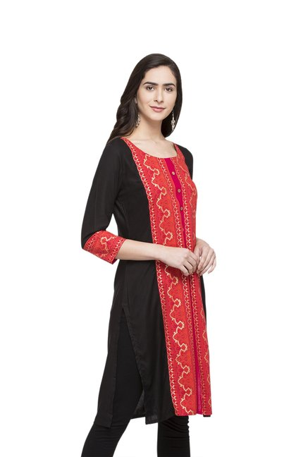 Globus Black & Red Printed Rayon Kurta