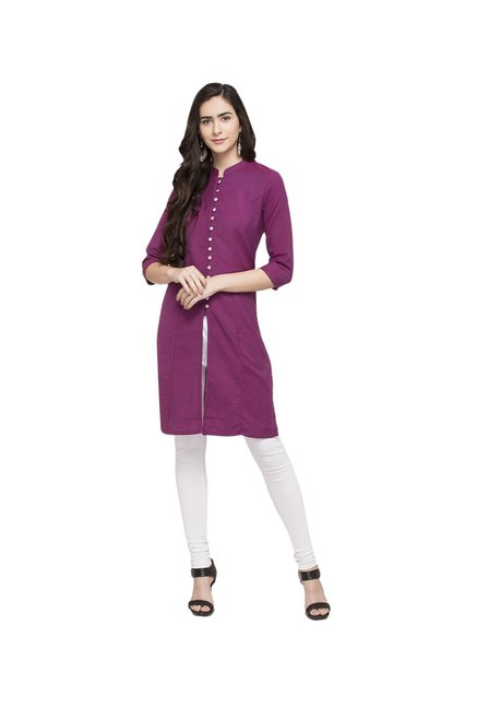 Globus Dark Pink Textured Cotton Kurta