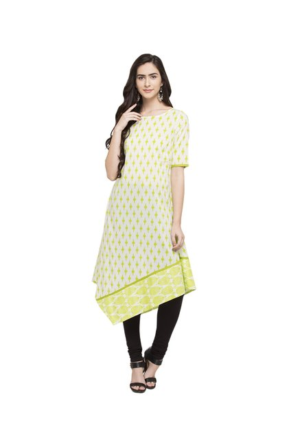 Globus Lime Printed Cotton Kurta