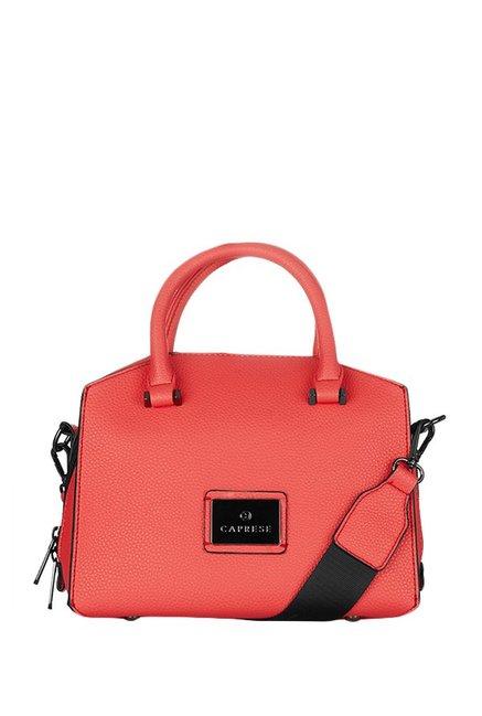 Caprese Cuba Coral Red Solid Handbag