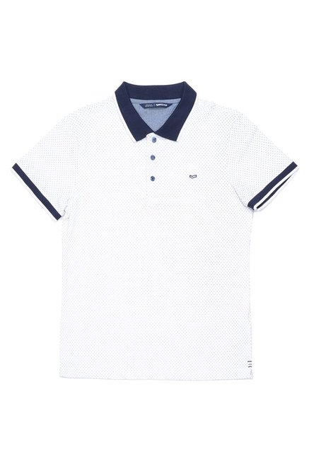 Gas White Cotton Lycra Polo T-Shirt