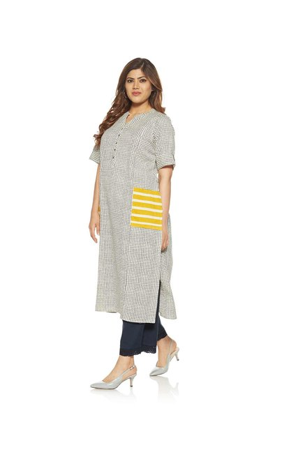 Diza curve by Westside Navy Checked Kurta