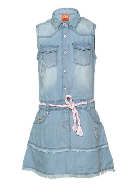 a008c1ae03067d Buy Tales   Stories Light Blue Washed Dress for Girls Clothing Online    Tata CLiQ