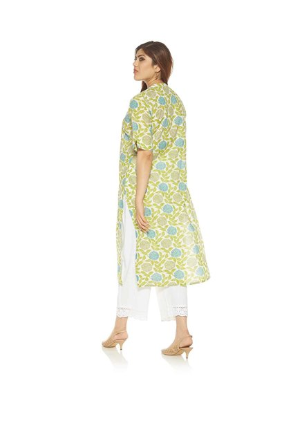 Diza curve by Westside Lime Green Pure Cotton Kurta