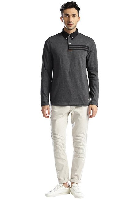 Hubberholme Charcoal Solid Full Sleeves T-Shirt