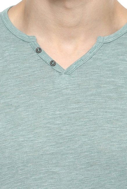 celio* Green Full Sleeves V-Neck T-Shirt
