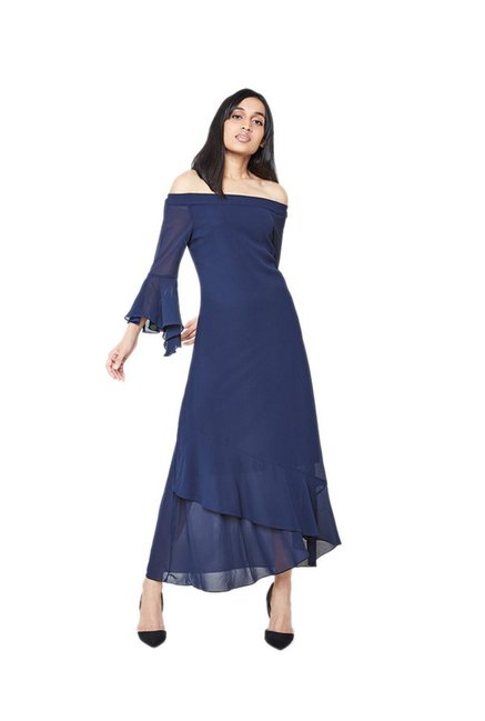 90836c7df1 Buy AND Navy Off Shoulder Dress for Women Online @ Tata CLiQ